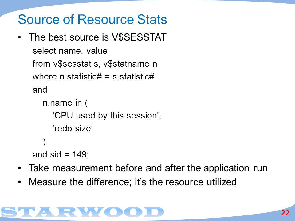 Source of Resource Stats