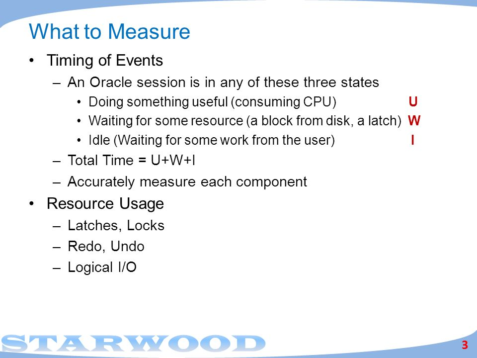 What to Measure Timing of Events Resource Usage