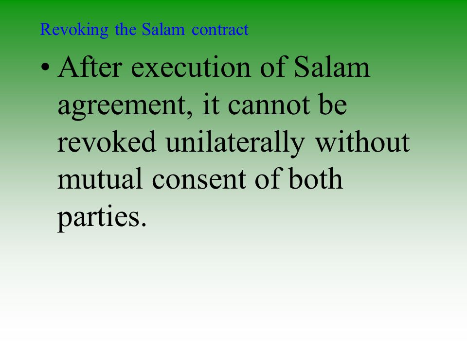 Revoking the Salam contract