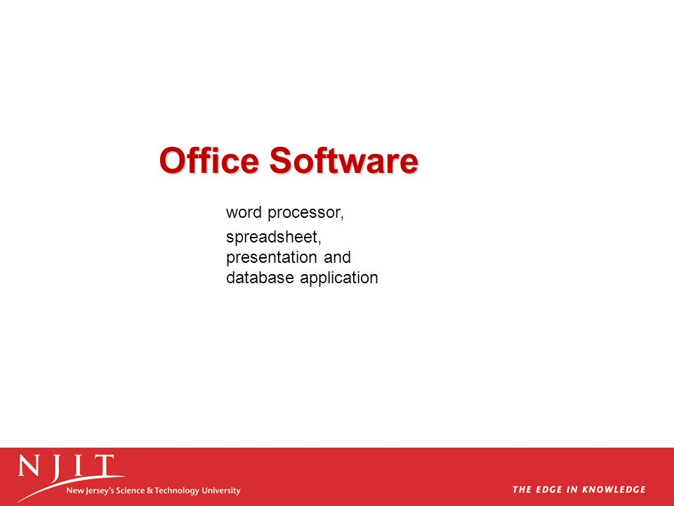 word processor, Office Software spreadsheet, presentation and