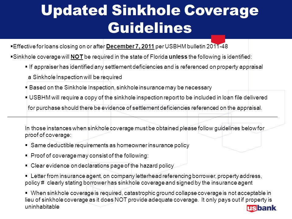 Updated Sinkhole Coverage Guidelines