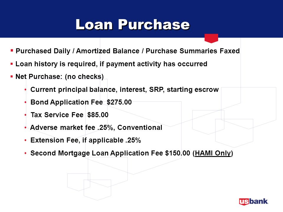 Loan Purchase Purchased Daily / Amortized Balance / Purchase Summaries Faxed. Loan history is required, if payment activity has occurred.
