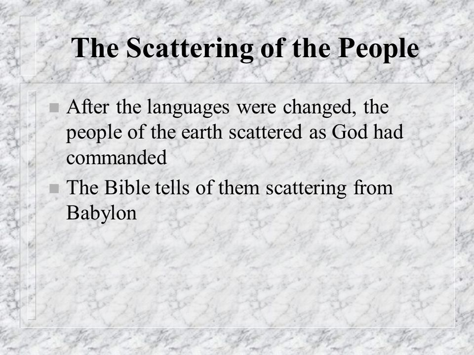 The Scattering of the People
