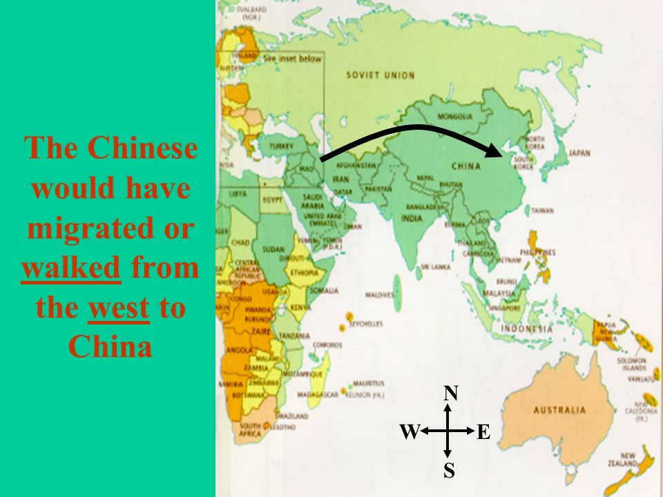 The Chinese would have migrated or walked from the west to China