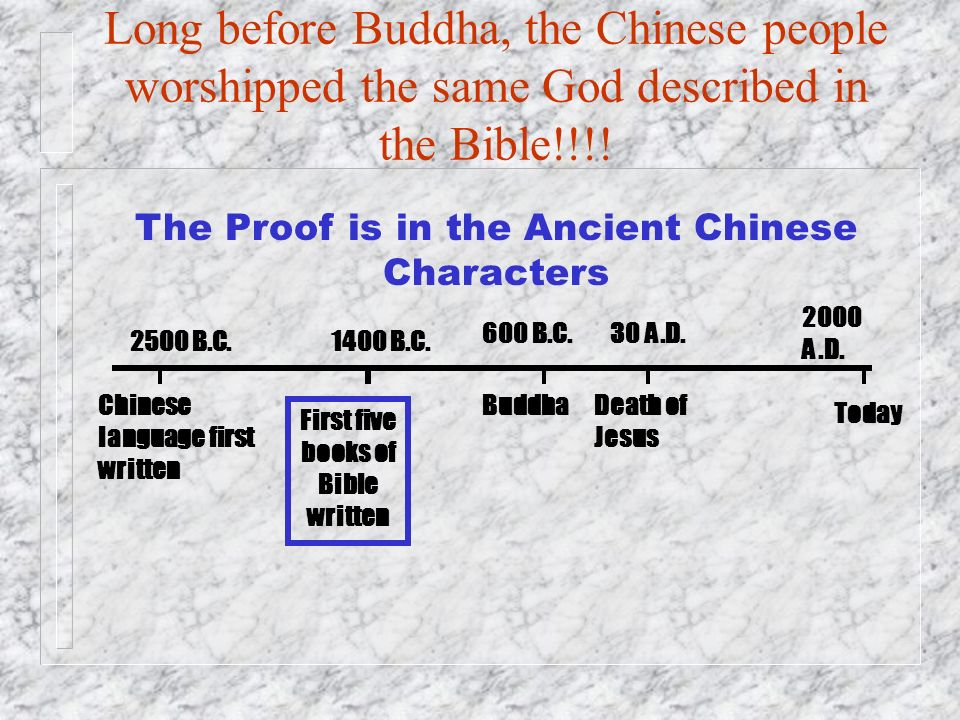 Long before Buddha, the Chinese people worshipped the same God described in the Bible!!!!