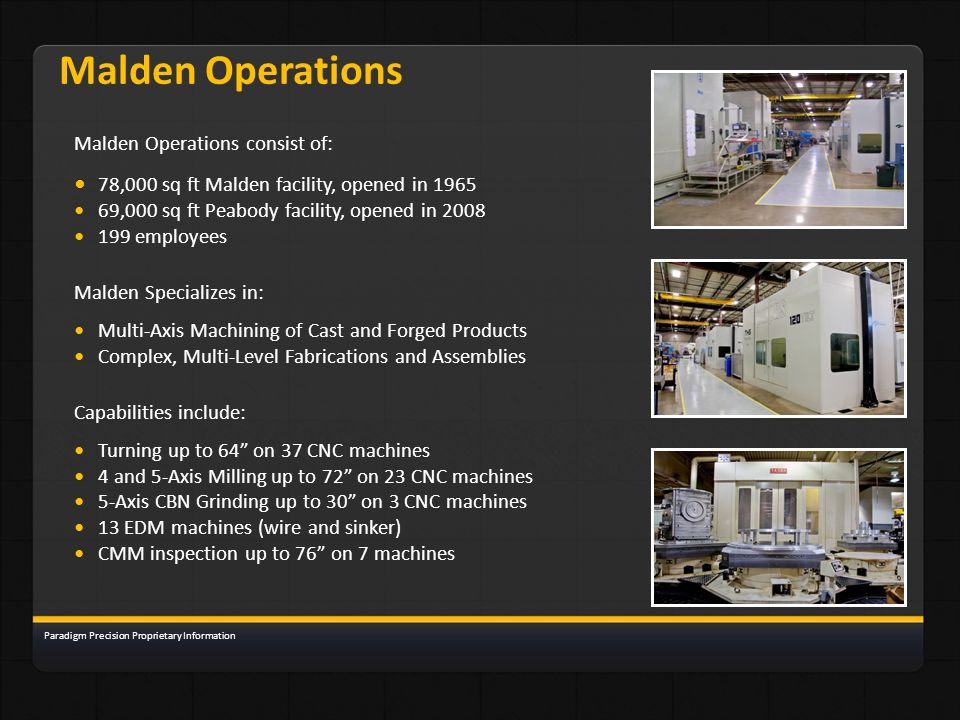 Malden Operations • 78,000 sq ft Malden facility, opened in 1965