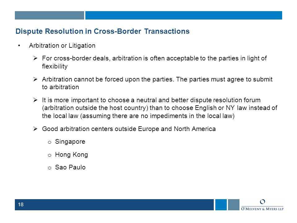 Dispute Resolution in Cross-Border Transactions