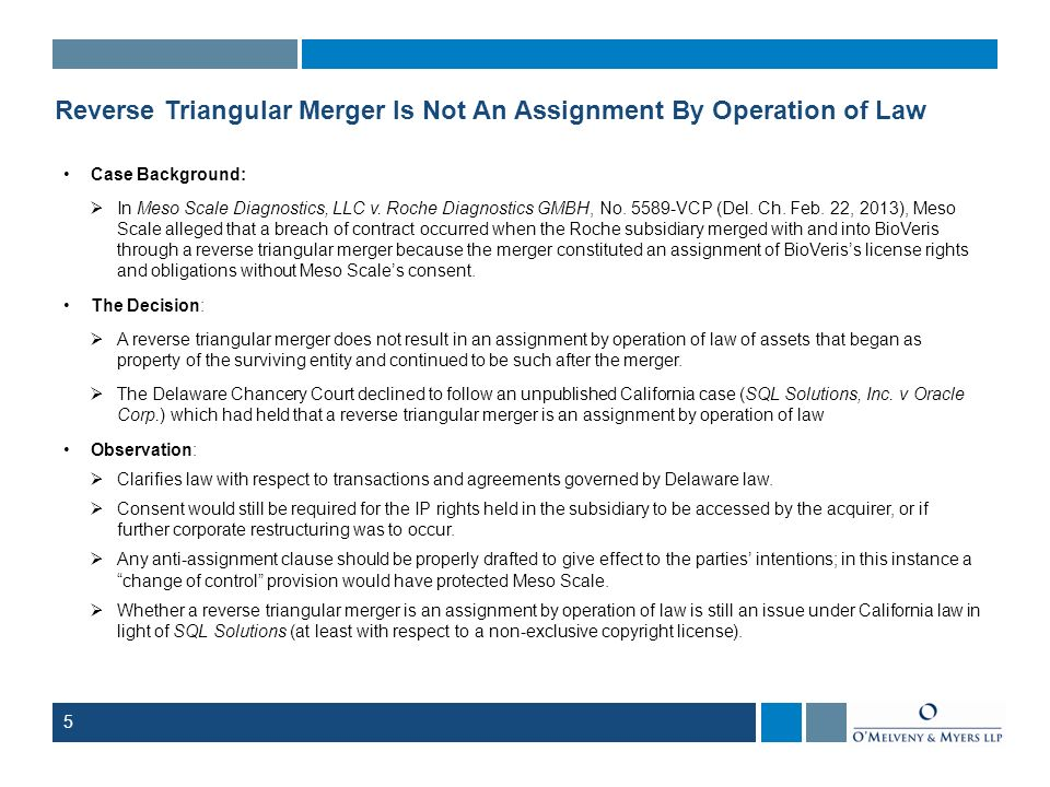 Reverse Triangular Merger Is Not An Assignment By Operation of Law