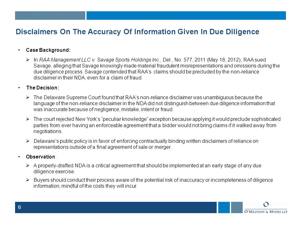 Disclaimers On The Accuracy Of Information Given In Due Diligence