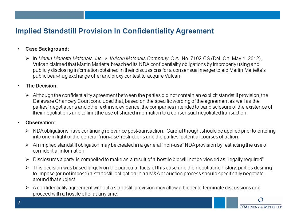 Implied Standstill Provision In Confidentiality Agreement