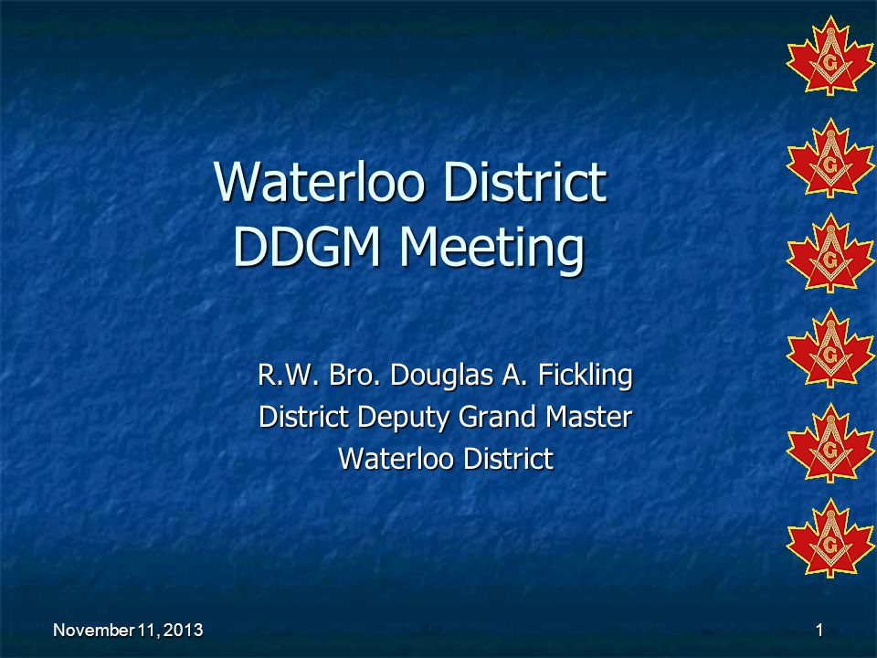 Waterloo District DDGM Meeting