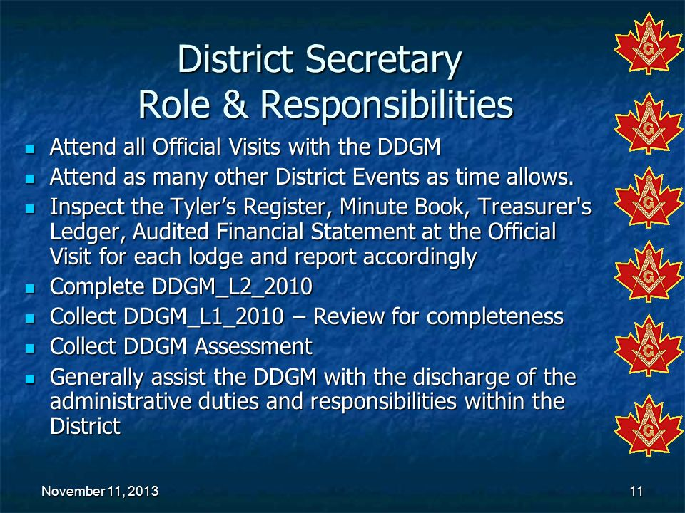 District Secretary Role & Responsibilities