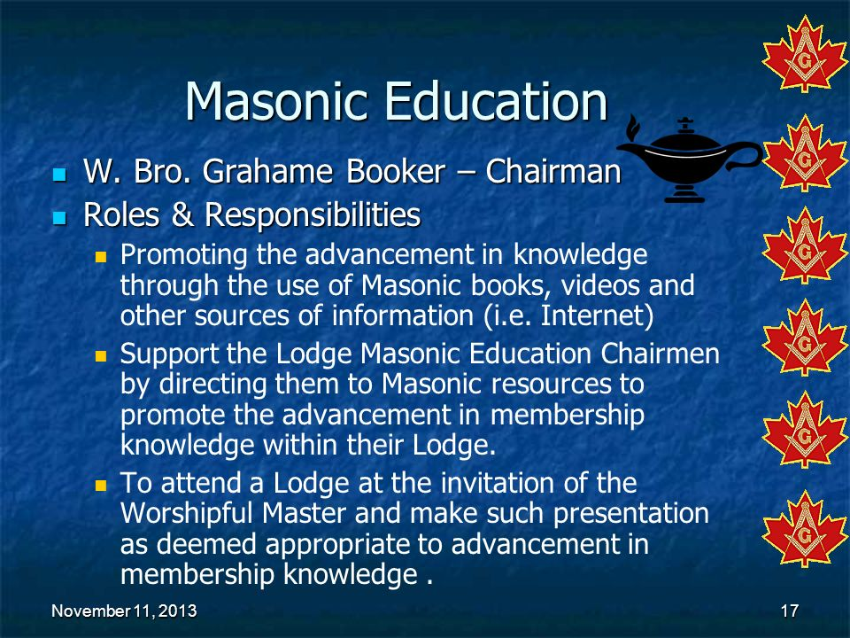 Masonic Education W. Bro. Grahame Booker – Chairman