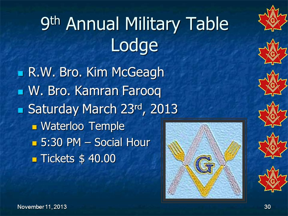 9th Annual Military Table Lodge