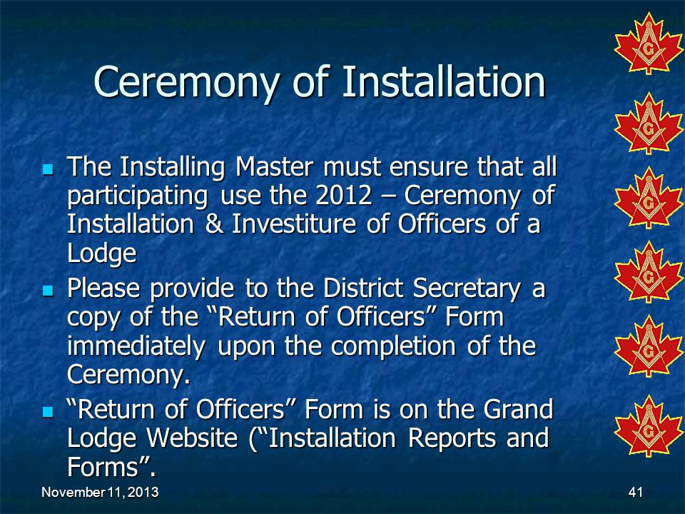 Ceremony of Installation