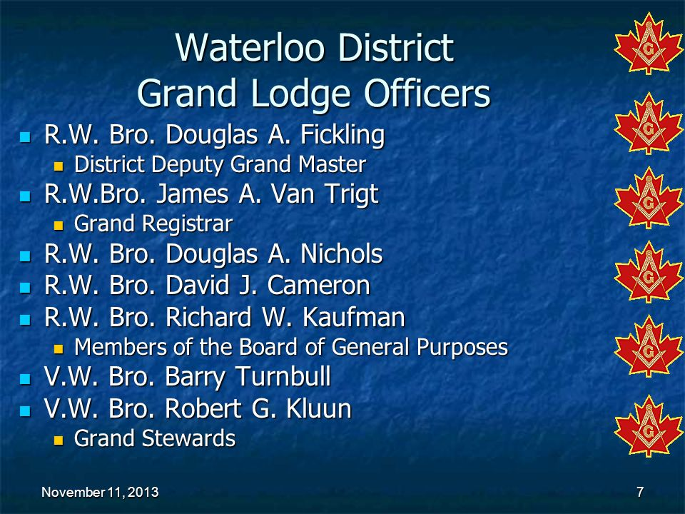 Waterloo District Grand Lodge Officers