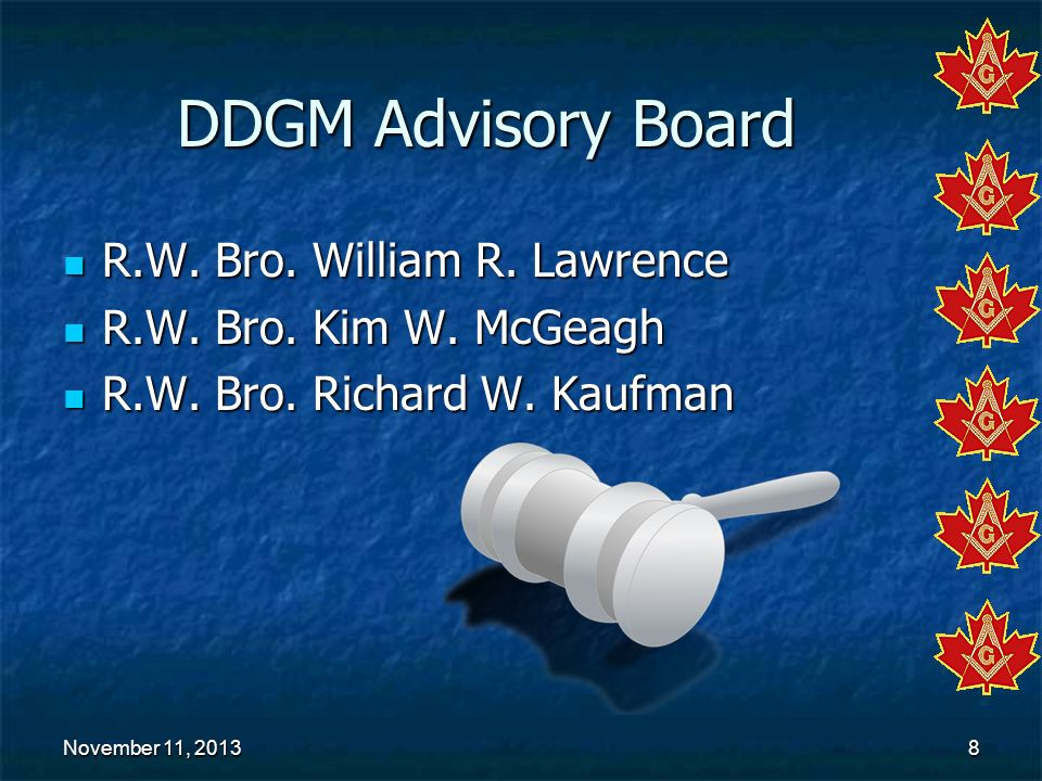 DDGM Advisory Board R.W. Bro. William R. Lawrence