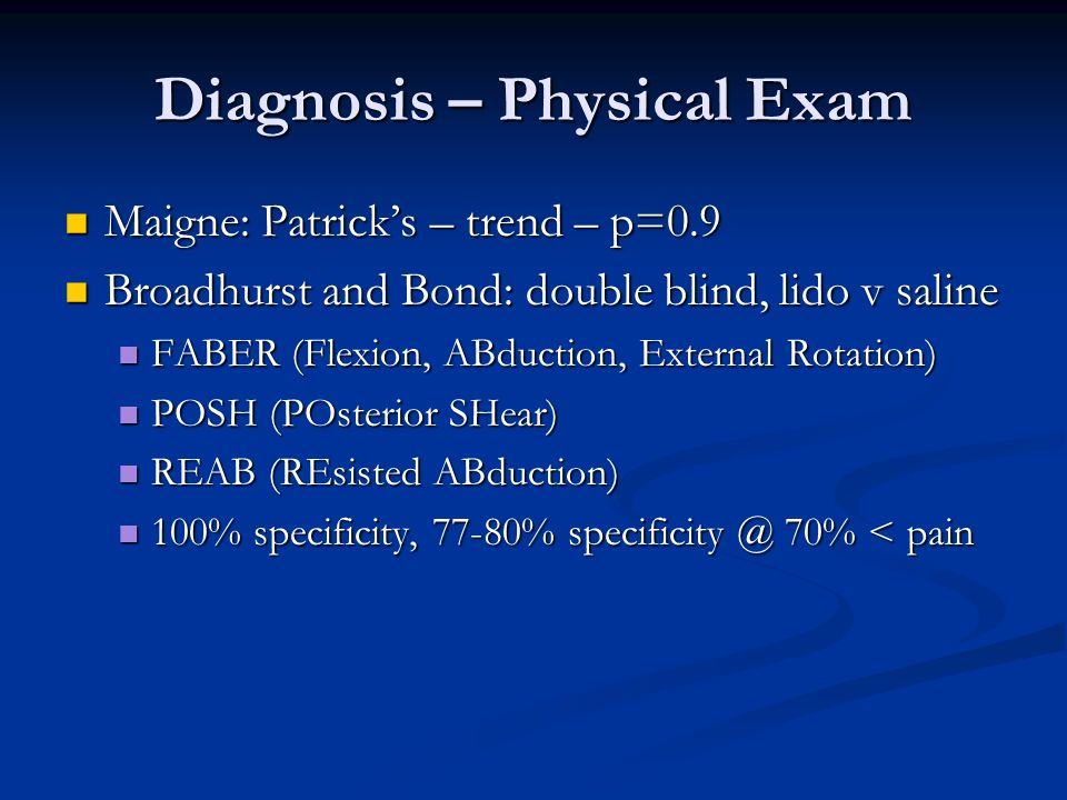 Diagnosis – Physical Exam