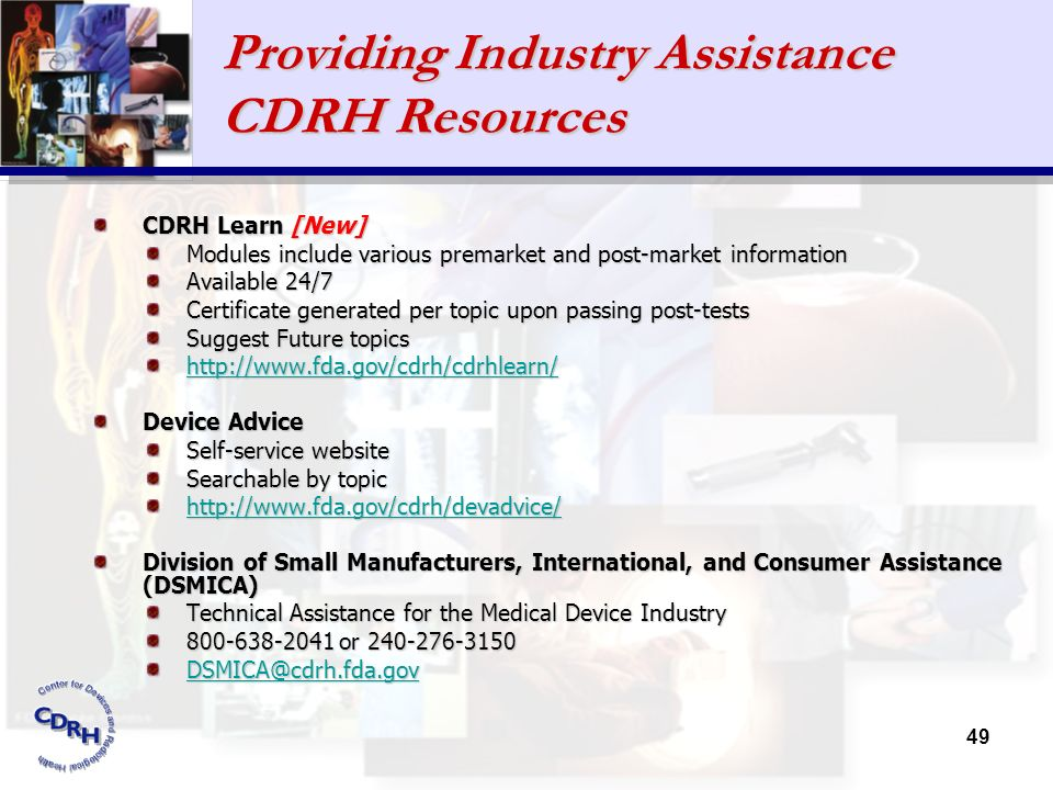 Providing Industry Assistance CDRH Resources