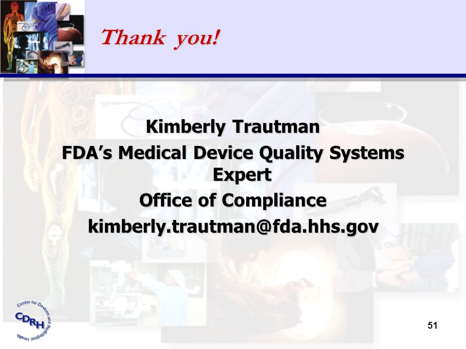 FDA's Medical Device Quality Systems Expert