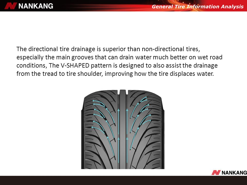 The directional tire drainage is superior than non-directional tires,