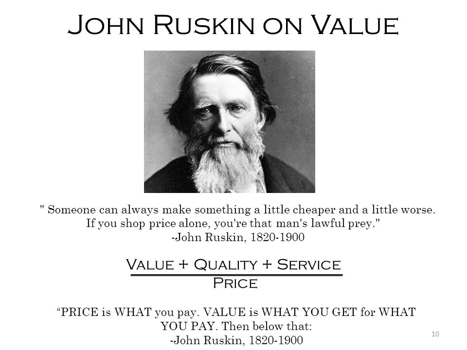 John Ruskin on Value Value + Quality + Service Price