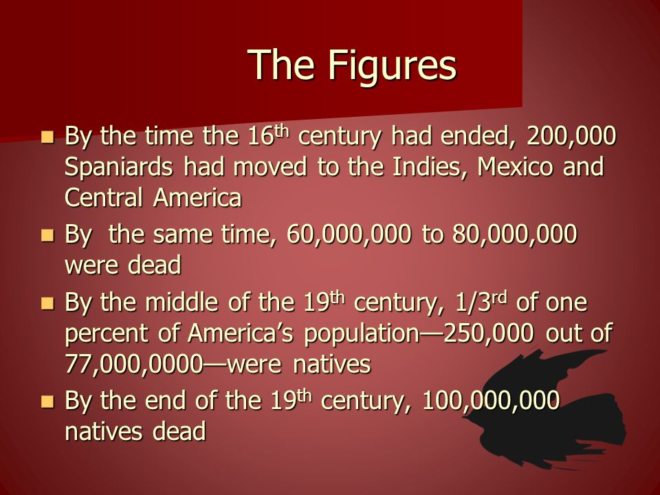 The Figures By the time the 16th century had ended, 200,000 Spaniards had moved to the Indies, Mexico and Central America.