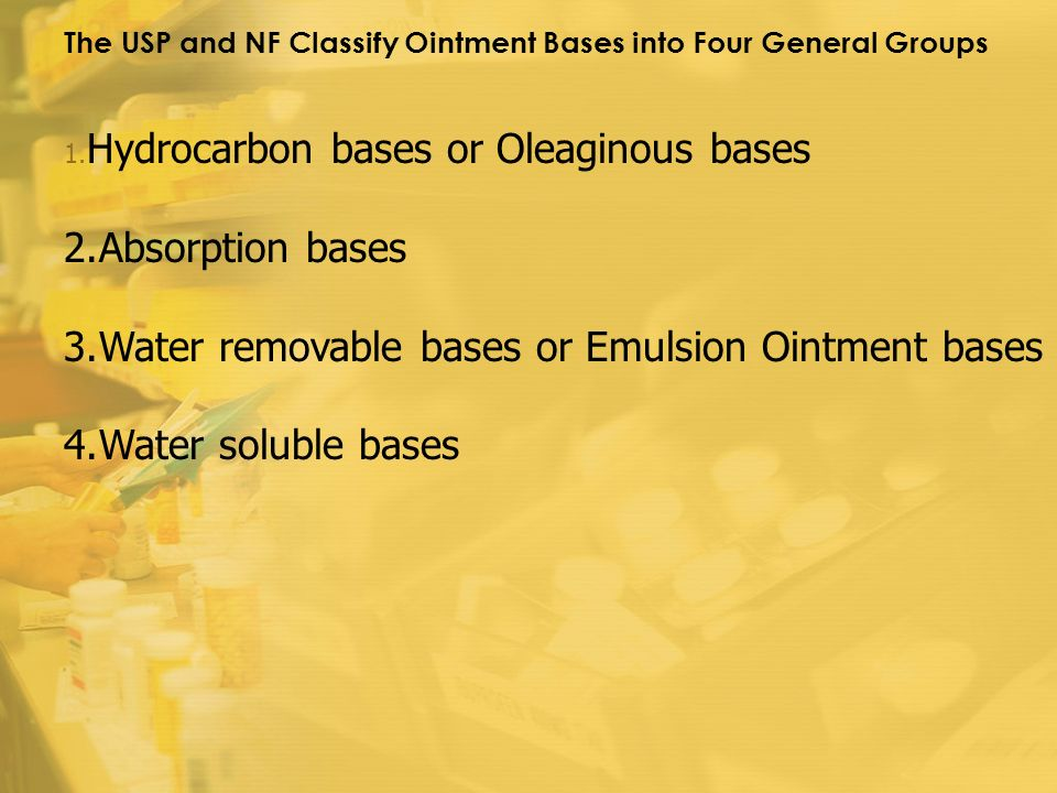 Hydrocarbon bases or Oleaginous bases Absorption bases