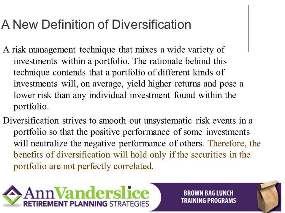 A New Definition of Diversification
