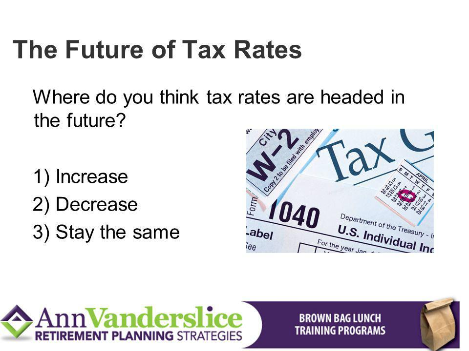 The Future of Tax Rates Where do you think tax rates are headed in the future 1) Increase. 2) Decrease.