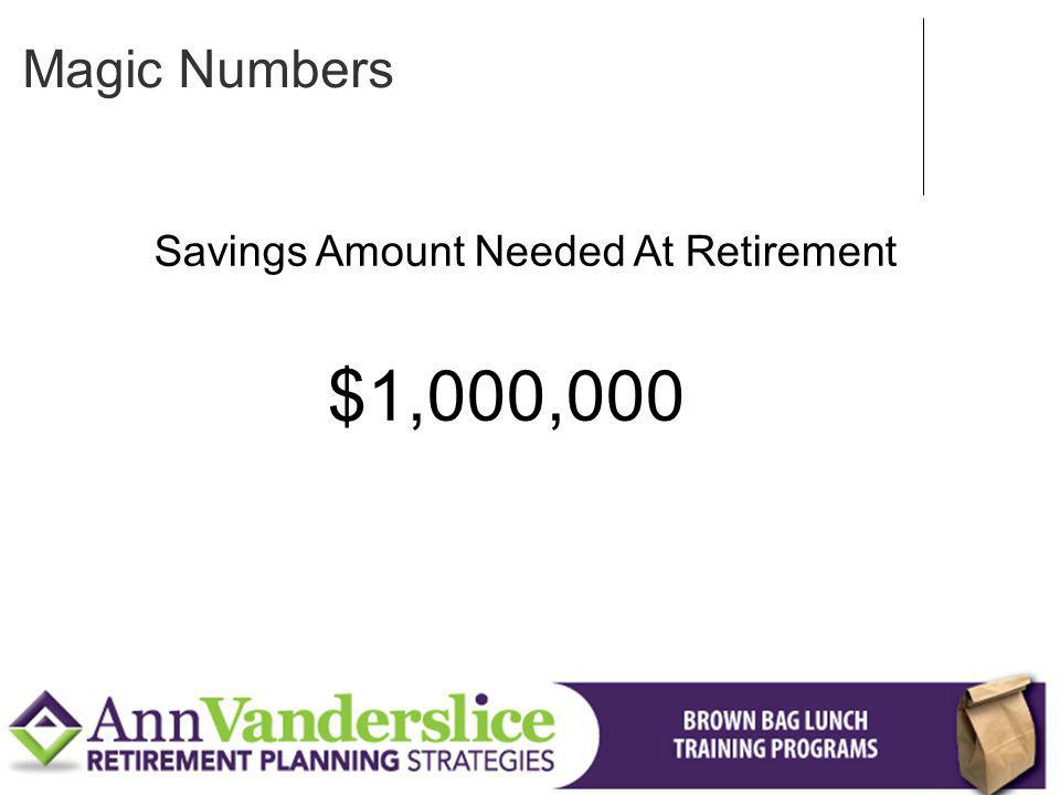Savings Amount Needed At Retirement