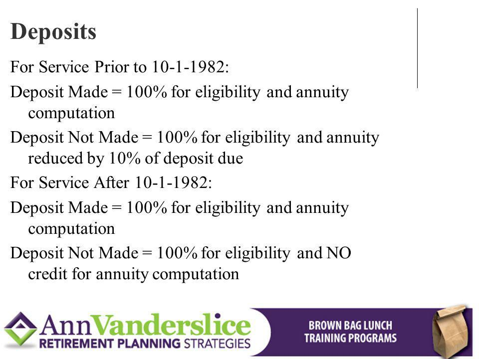 Deposits For Service Prior to :