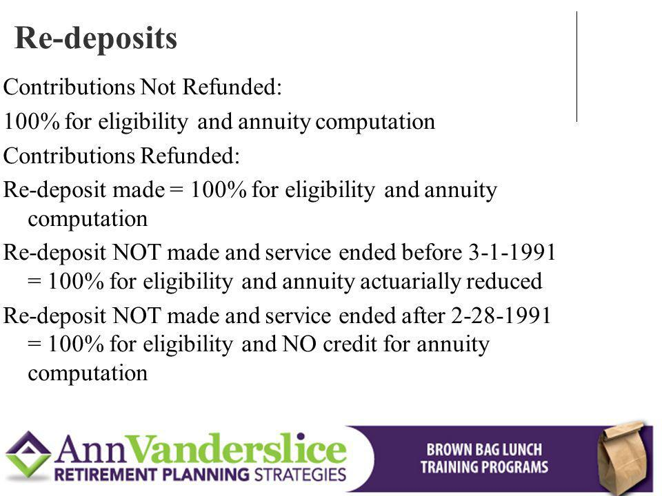 Re-deposits Contributions Not Refunded: