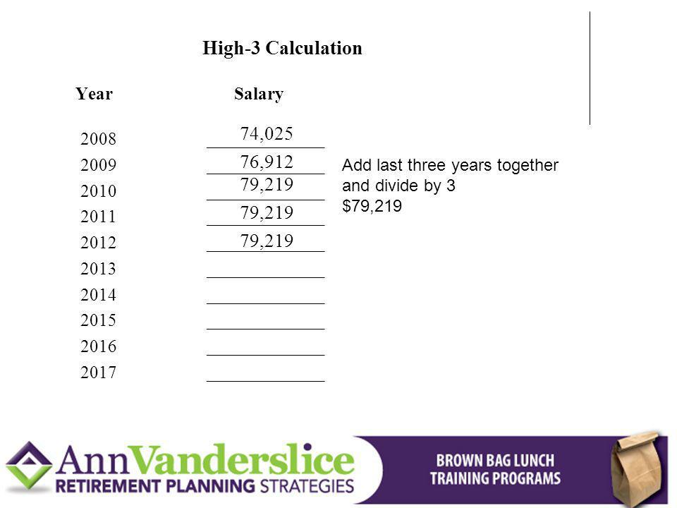 High-3 Calculation 74,025 76,912 79,219 79,219 79,219 Year Salary