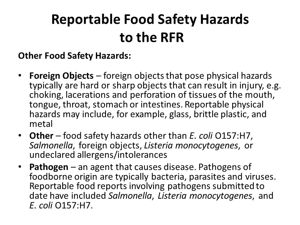 Reportable Food Safety Hazards to the RFR