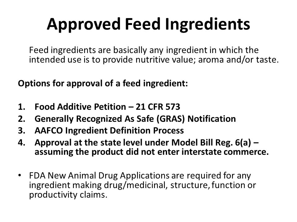 Approved Feed Ingredients