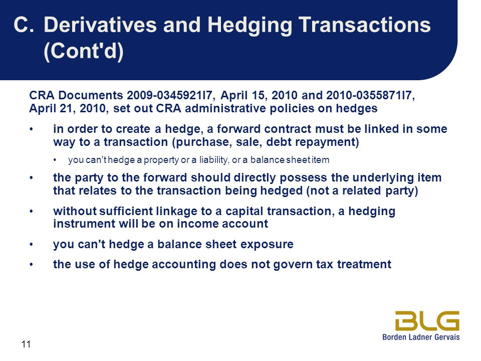 C. Derivatives and Hedging Transactions (Cont d)