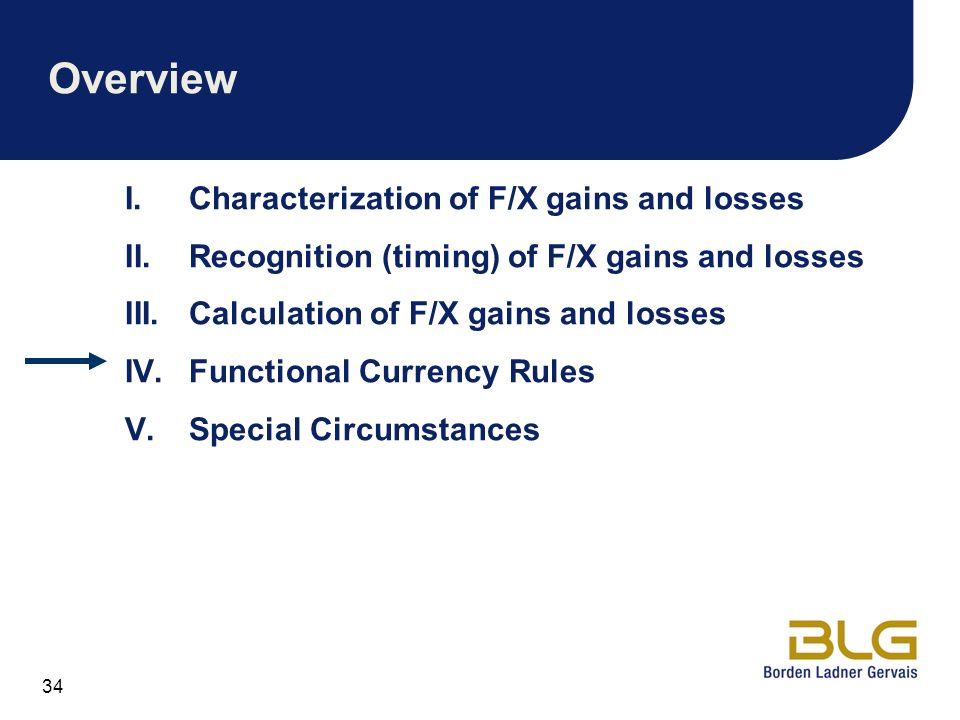 Overview Characterization of F/X gains and losses