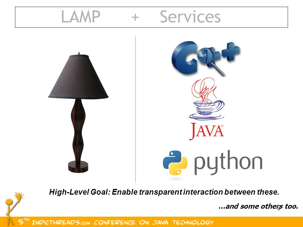 LAMP + Services High-Level Goal: Enable transparent interaction between these.