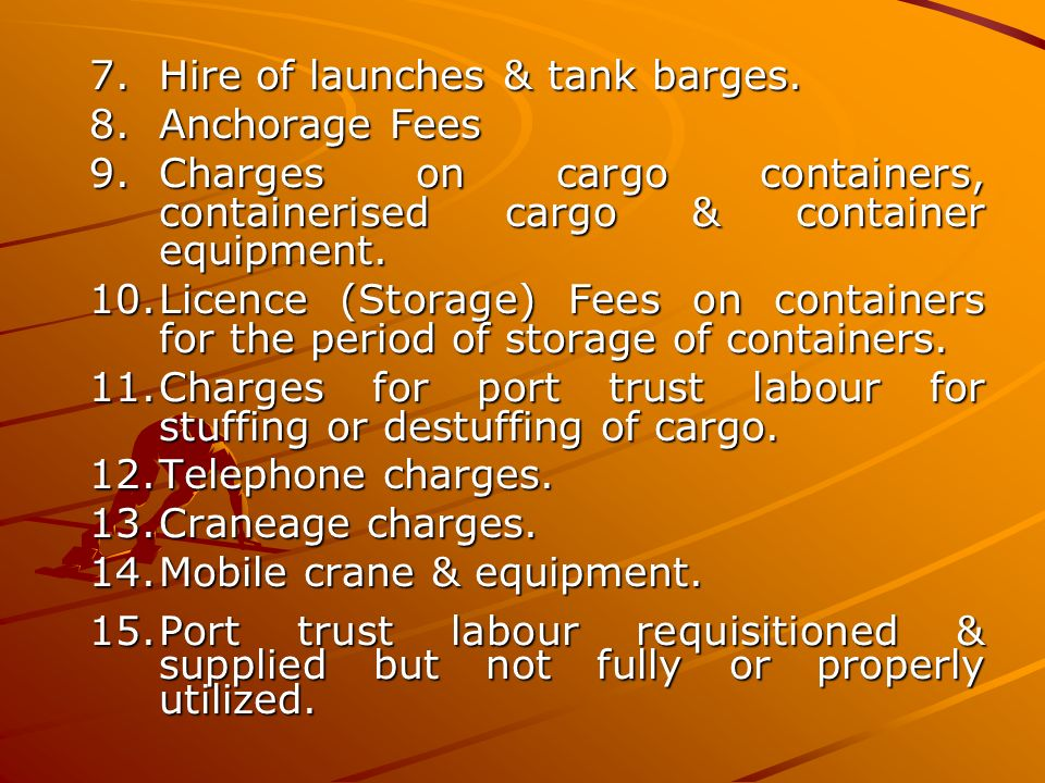 Hire of launches & tank barges.