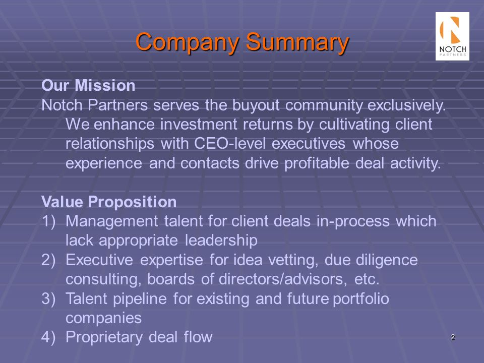 Company Summary Our Mission