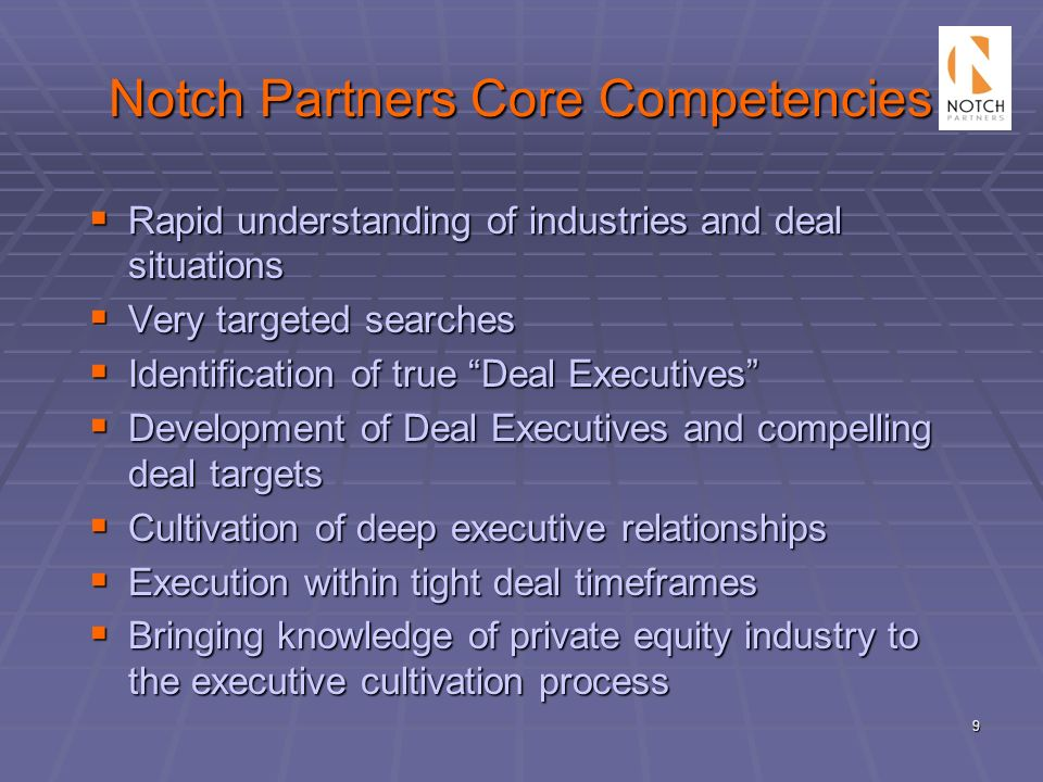 Notch Partners Core Competencies