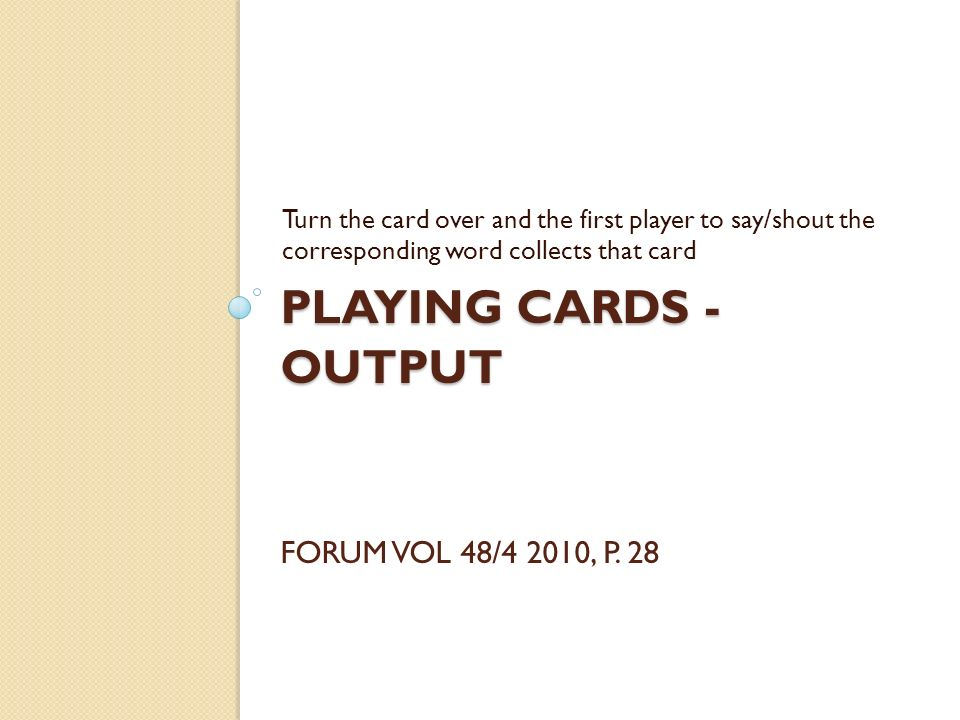 Playing Cards - Output Forum Vol 48/4 2010, p. 28