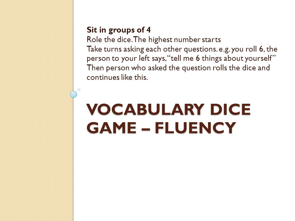Vocabulary Dice Game – fluency