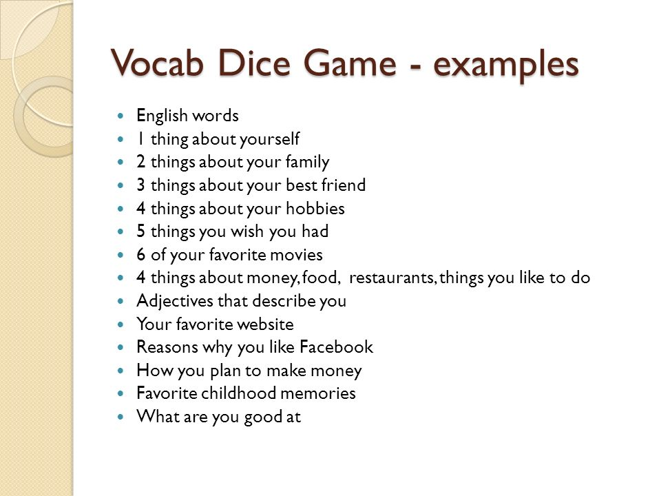Vocab Dice Game - examples