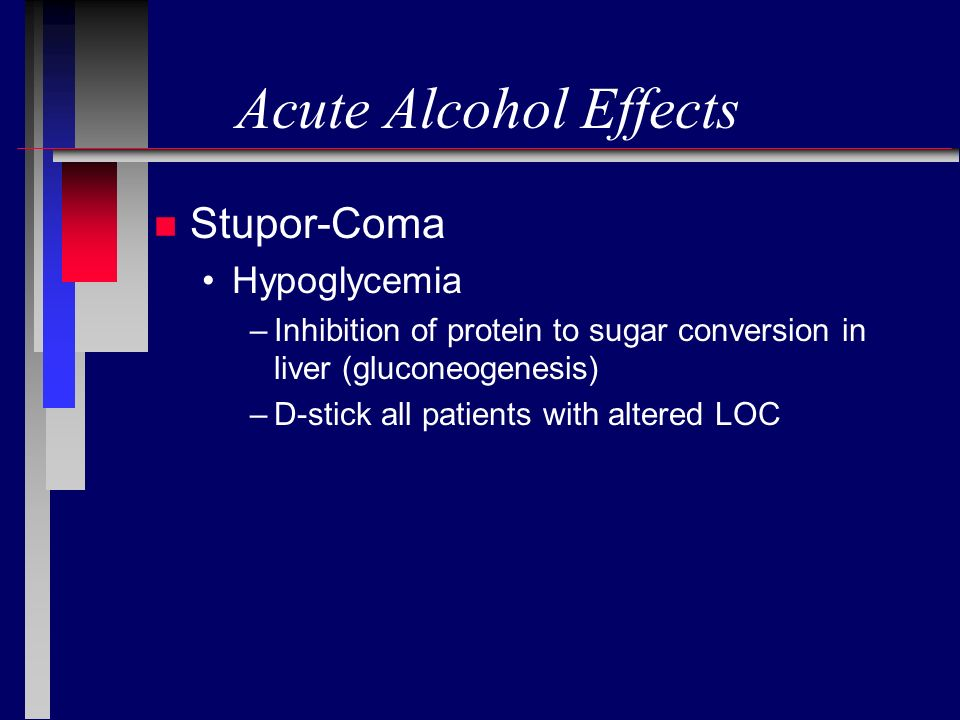 Acute Alcohol Effects Stupor-Coma Hypoglycemia