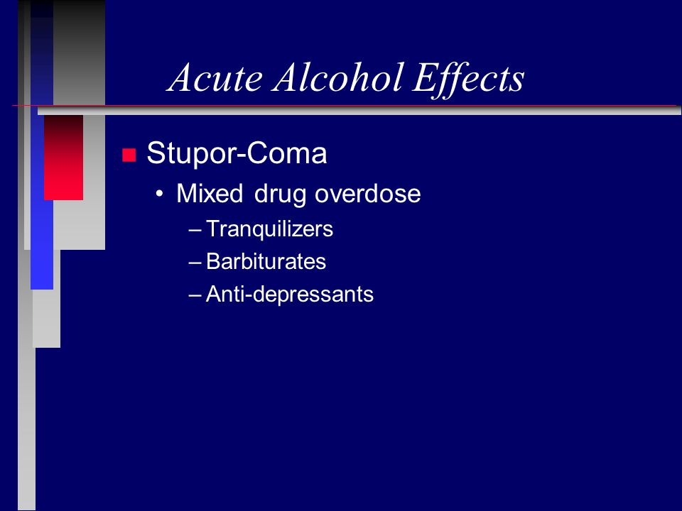 Acute Alcohol Effects Stupor-Coma Mixed drug overdose Tranquilizers
