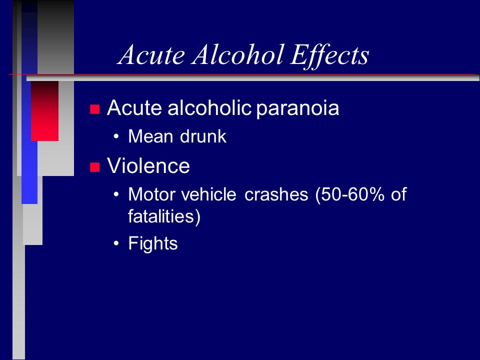 Acute Alcohol Effects Acute alcoholic paranoia Violence Mean drunk