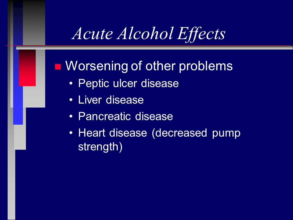 Acute Alcohol Effects Worsening of other problems Peptic ulcer disease