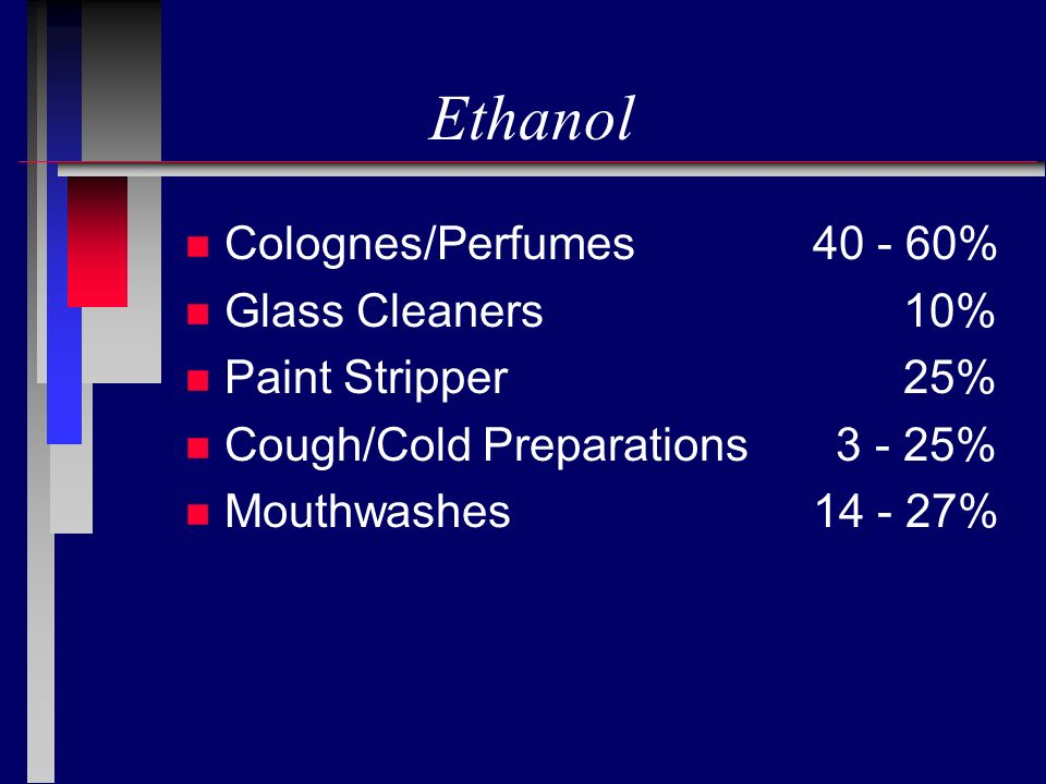 Ethanol Colognes/Perfumes 40 - 60% Glass Cleaners 10%